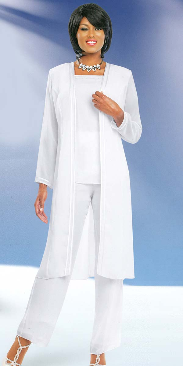 Misty Lane 13062-White - Three Piece Womens Pant Suit For Church Choir