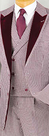 Vinci 23HS-4 Three Piece Houndstooth Peak Lapel Suit With Double Breasted Vest