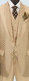 Vinci 23RS-9-Almond - Fancy Polyester Three Piece Striped Mens Suit