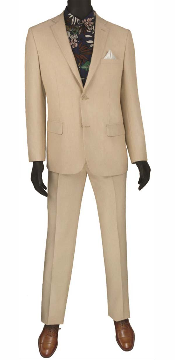 Vinci S2RK-8-Beige - Single Breasted Two-Button Mens Slim Fit Suit