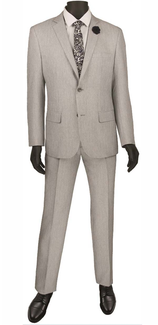 Vinci S2RK-8-Gray - Single Breasted Two-Button Mens Slim Fit Suit