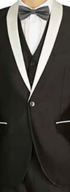 Vittorio St. Angelo S6501V-BlackWhite - Mens Three-Piece Slim Fit Shawl Lapel Evening Suit