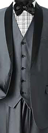 Vittorio St. Angelo S6501V-Grey - Mens Three-Piece Slim Fit Shawl Lapel Evening Suit