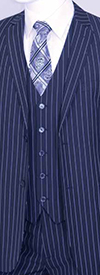 Vittorio St. Angelo T62RS Classic Fit Three Piece Pinstripe Suit For Men