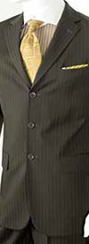 Vittorio St. Angelo A63ETS-Brown Striped Two Piece Mens Church Suit