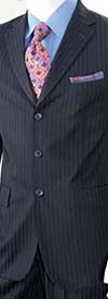 Vittorio St. Angelo A63ETS-Navy Striped Two Piece Mens Church Suit