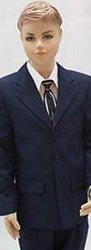 Vittorio St. Angelo A73TAR-Navy Three Button Boys Suit For Church
