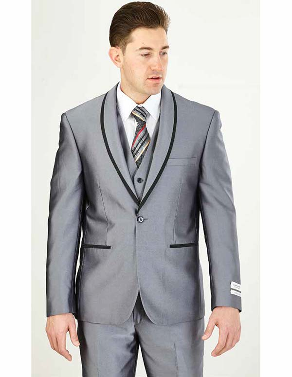 Vittorio St. Angelo FS61V-Grey - Mens Three Piece Slim Fit Evening Suit