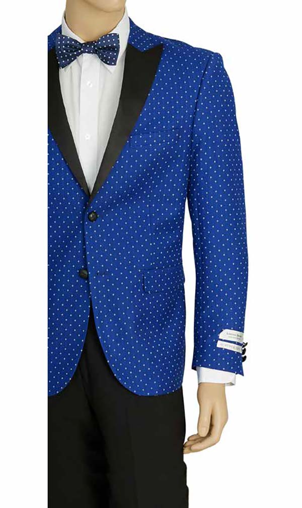 Vittorio St. Angelo SZ62PD-Blue -  Mens Peak Lapel Polka Dot Print Slim Fit Sports Blazer
