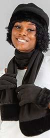 Fashion FS301-Black - Faux Fur Trim Fleece Womens Scarf, Hat, & Gloves Set