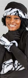 Fashion FS301-BlackZebra - Womens Faux Fur Trim Fleece Scarf, Hat, & Gloves Set