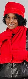 Fashion FS301-Red - Womens Faux Fur Trim Fleece Scarf, Hat, & Gloves Set