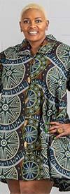 KaraChic - 243-500-GreenMulti - Ladies African Print Long Tunic