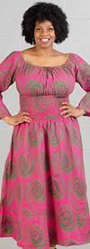 KaraChic 304NP-Pink/Green - Womens Smocked Design Bell Sleeve African Print Dress