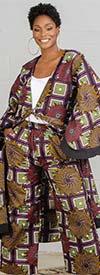 KaraChic 7036-426 - Black / Multi Print Kimono Jacket and Pant Set