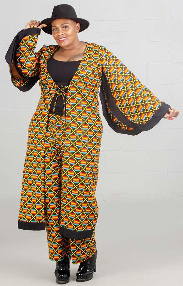KaraChic 7036-417 - Multi Black / Yellow Print Kimono Jacket and Pant Set