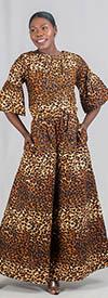 KaraChic 7209-254 - Leopard Print Flare Sleeve Jumpsuit