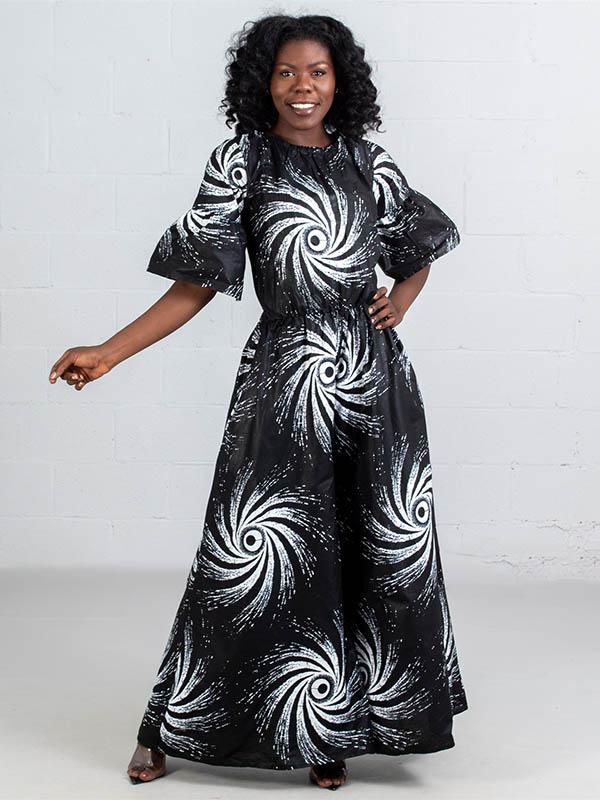 KaraChic 7209-443 - Black White Swirl Print Flare Sleeve Jumpsuit