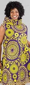 KaraChic 7217X - Cowl Neckline Sleeveless Dress In African Inspired Print Design
