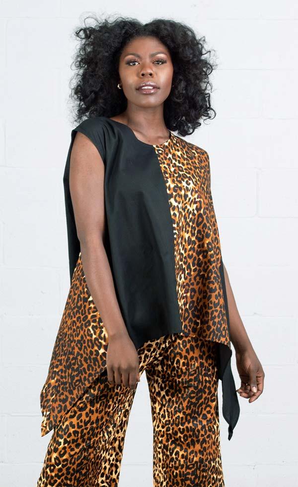 KaraChic 7222-Leopard - Womens African Style Print Sleeveless Sharkbite Hem Top