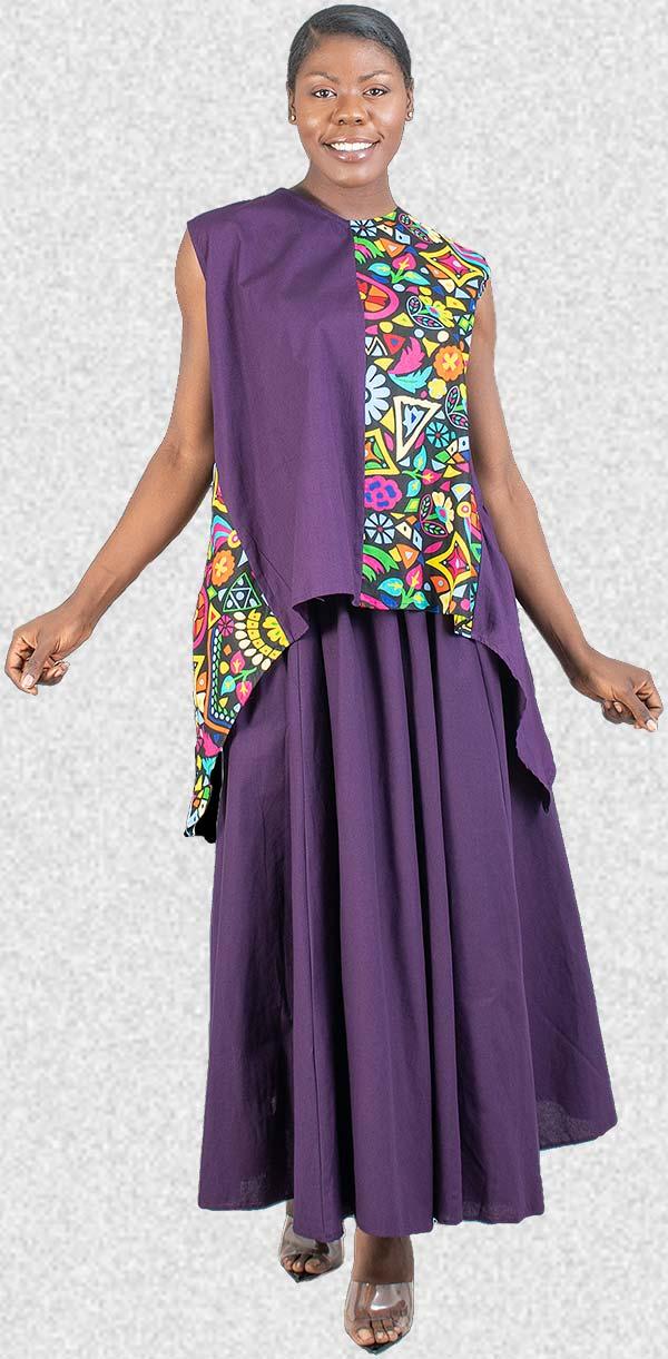 KaraChic 7222-Purple - Womens African Style Print Sleeveless Sharkbite Hem Top