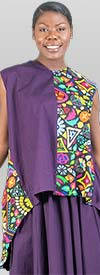 KaraChic 7222-Purple - Womens African Style Print Sleeveless Sharkbite Hem Top