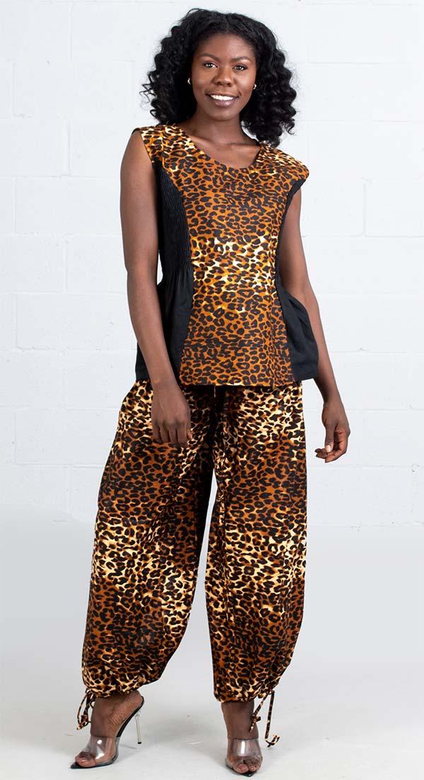 KaraChic 7236-Leopard - Womens African Style Print Sleeveless Top