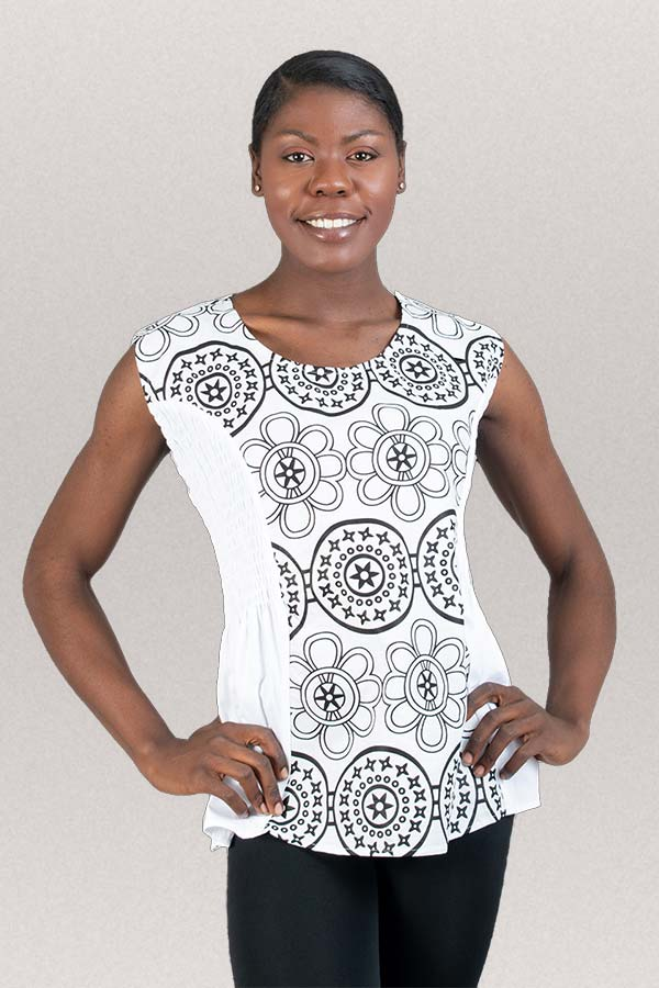 KaraChic 7236-WhiteBlack - African Style Print Womens Sleeveless Top