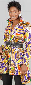 KaraChic 7509-Purple/Gold- Button Front African Print Sharkbite Hemline Top