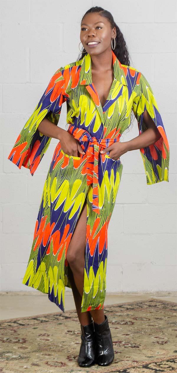 KaraChic 7526-Blue/Multi - Womens Split Sleeve Duster With Sash In African Print Design