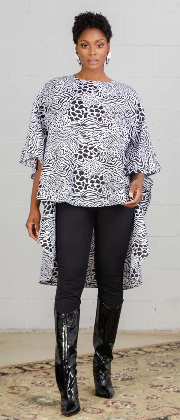 KaraChic 7551-Black/White - African Style Print Womens High-Low Top