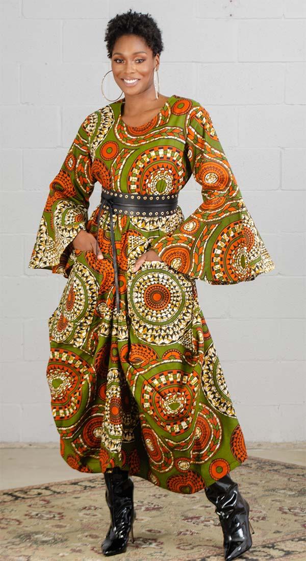 KaraChic 7561A-Olive Green/Orange - Womens Bell Sleeve Print Dress
