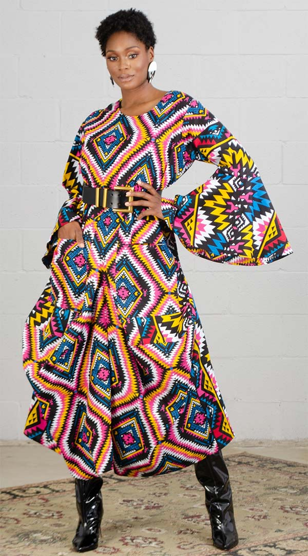 KaraChic 7561A-Yellow/Pink/Blue - Womens Bell Sleeve Print Dress