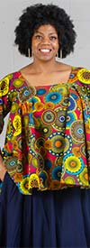 KaraChic 7567-Multi Pink/Yellow - Womens African Style Print Square Neckline Top