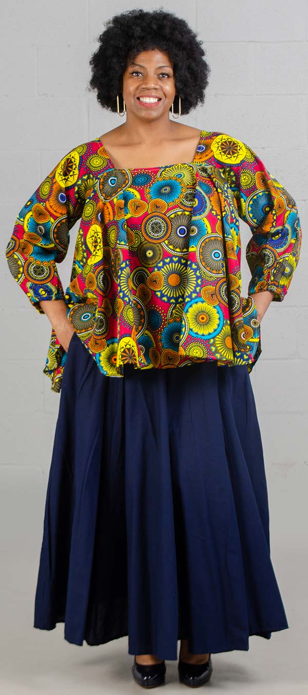 KaraChic 7567-Multi Pink/Yellow - Womens African Style Print Square Neckline Top