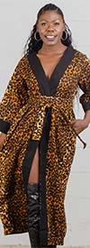 KaraChic 7569 - Ladies African Print Duster With Sash