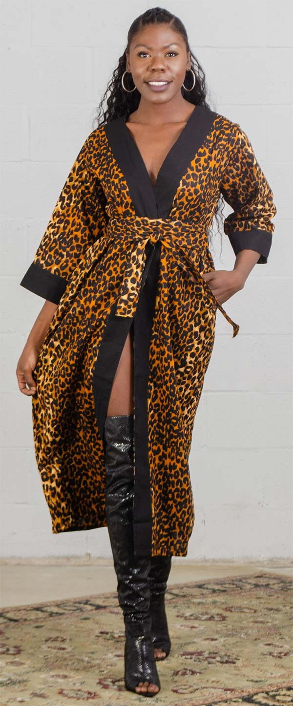 KaraChic 7569 - Ladies African Print Duster With Sash