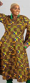 KaraChic 8001X-421 - Womens African Print Bell Sleeve Wrap Dress