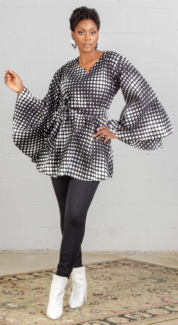 KaraChic 9024 - African Style Print Womens Bell Sleeve Top