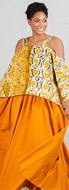 KaraChic 9037-OrangeMulti - Womens African Style Print Cold Shoulder Top