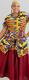 KaraChic 7001S-Maroon - Elastic Waist Skirt