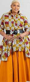 KaraChic 7001S-Mustard - Elastic Waist Skirt