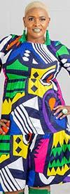 KaraChic 7513A-BlueMulti - Bubble Sleeve Multi-Color African Print Dress