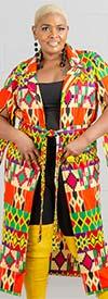 KaraChic 7526 - Womens Split Sleeve Duster With Sash In African Print Design