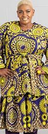 KaraChic 9024X-PurpleGold - African Print Peplum Top With Wide Bell Sleeves And Sash
