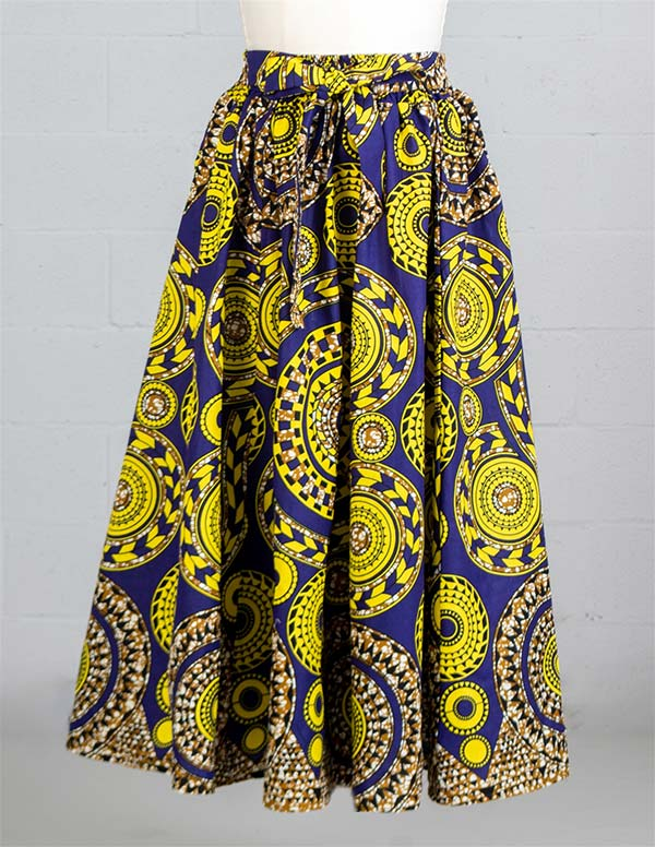 KaraChic 7001X-PurpleGold- Womens Maxi Skirt With Elastic Waist In African Print