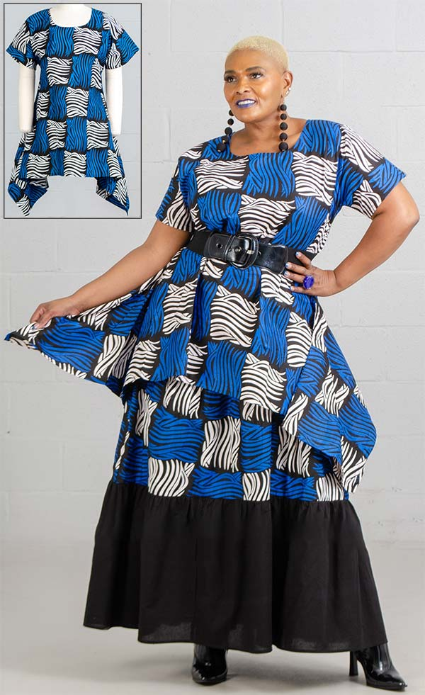 KaraChic 7507-BlueWhite - African Print Sharkbite Hemline Top