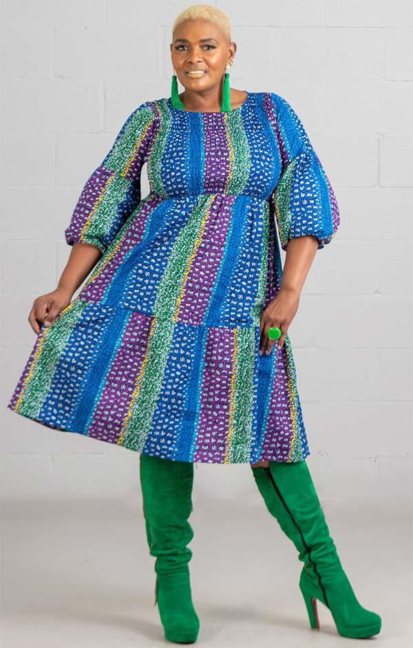 KaraChic 7513A-BlueGreenPurple - Bubble Sleeve Multi-Color African Print Dress