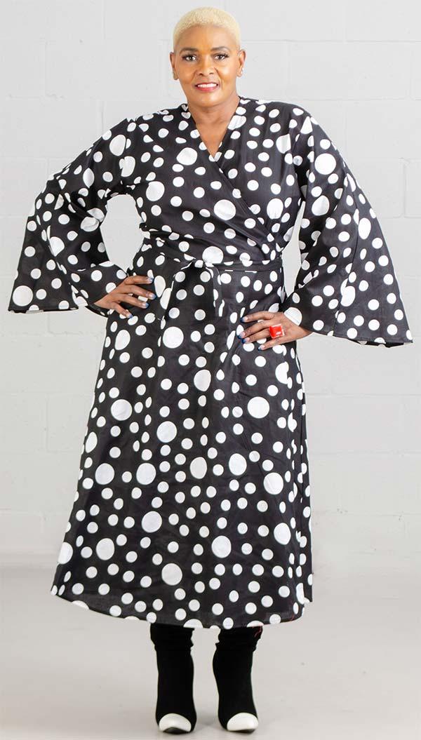KaraChic 8001X-267 - Womens Polka Dot Print Bell Sleeve Wrap Dress