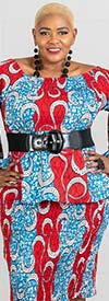 KaraChic 9009 - Womens Two Piece Tiered Bell Sleeve Smocked Jacket And Skirt Suit In African Style Print